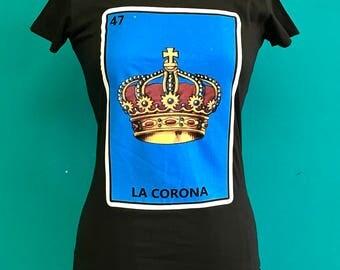 LA CORONA mexican pop Art LOTERIA mexicana silk screen print women's blouse