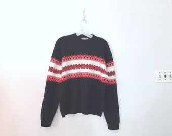 VTG Black and Red Ski Sweater Sz L