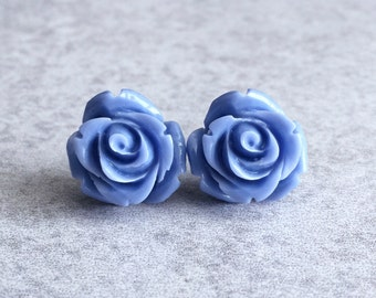 Periwinkle Blooming Rose Bud Earrings - Silver Plated Stud Posts, 15mm Resin Roses, Cabochons, Lavender Purple, Blue, Bridesmaid Jewelry
