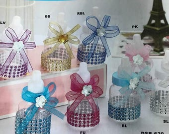 Baby Shower Decorated Bling Fillable Bottle Favors 10 Ct