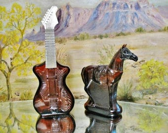Vintage 1970s Men's Collectible Avon Brown Glass Horse and Guitar After Shave and Cologne Bottles - Lot of 2