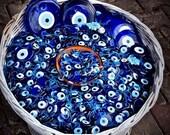 "Bulk Set 50, 1 1/4"" Inch Blue Glass Turkish Evil Eye Good Luck Charm Greek Ornament Wholesale"