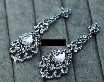 PAIR LONG Crystal chandelier top platinum plated earrings drop Gauges Plugs 4g 2g 0g 00g 5mm 6mm 8mm 10mm