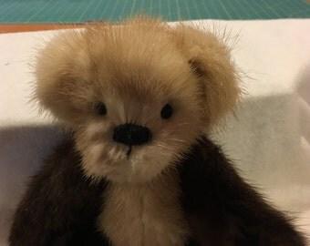 2-tone Vintage Genuine MINK teddy bear. OOAK.