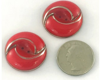 Art Deco Red with Silver Luster Glass Buttons, Vintage Glass Buttons, Modern Era Red and Silver Buttons, Lot 255