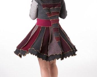Bohemian short ladies coat. Hooded sweater coat, Elegant ladies wear. Katwise wool coat. Size M/L