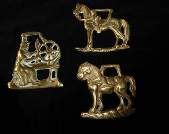 Three Vintage Horse Brass  Medallions Made in England  Lot L