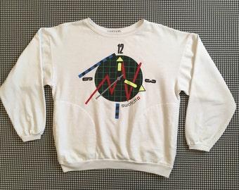 1980's, SWATCH sweatshirt in white, Women's size Small/Medium
