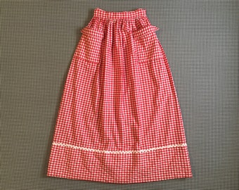 1970's, gingham check, maxi skirt, in red and white, Women's size Medium