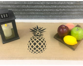 """Burlap Table Runner 12"""", 14"""", & 15"""" wide with a Pineapple design in the center. Pineapple runner, welcome, house warming gift"""