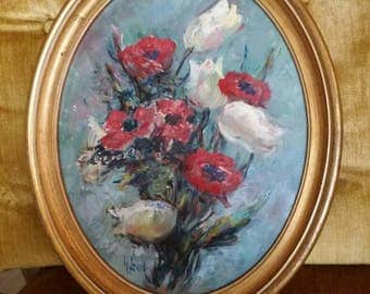 """BEAUTIFUL! Vintage Sanger Harris Signed Original Victorian Shabby Poppy Tulip Floral Hollywood Regency Oil Painting on Board~13 1/4""""H X 11""""W"""