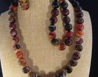 Multi color agate beads jewelry set