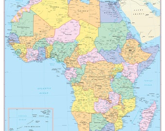 AFRICA Continent Map Wall Poster - 2017
