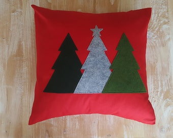 """Red,Green,Grey, Christmas tree, stitched wool felt, pillow cover,cabin decor,farmhouse decor,Christmas decor,Country,Winter decor,20"""""""