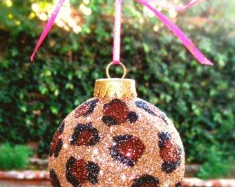 Cheetah print glitter ornament