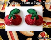 Rhinestone Cherries Burlesque Pasties (Red)