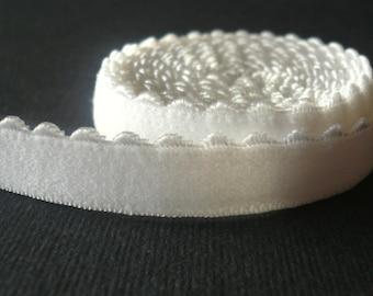 Bra/ Lingerie Elastic. Scallop Edge Elastic. Plush back.  10mm Wide. White Colour