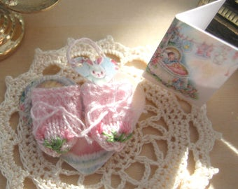 dollhouse baby doll mittens knitted and embroidered 12th scale miniature designed by Rainbowminiatures