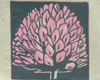 Clover mini linocut print