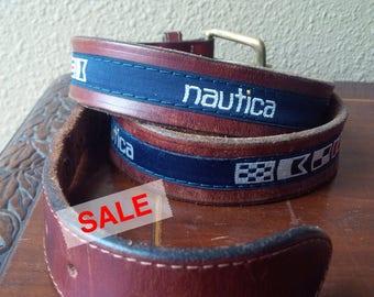 Leather Belt Navy Nautical Yacht Boat Style Nautical Leather Brass Belt