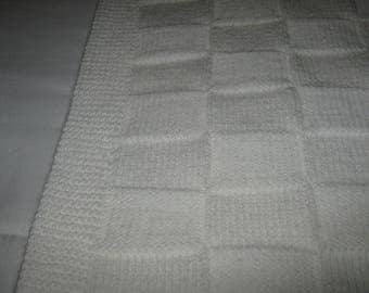 New Hand Knit White Baby Blanket