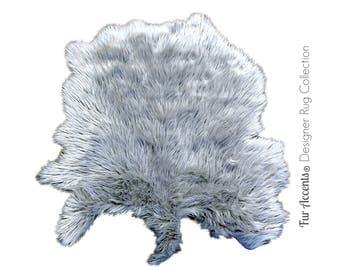 Plush Faux Fur Area Rug - New Sheepskin Pelt Shape Designer Throw Rug - 6 Colors - Fur Accents - USA