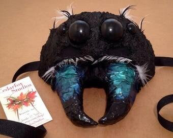 Fantasy Mask Masquerade Spider black green blue white arachnid inspired Jumping
