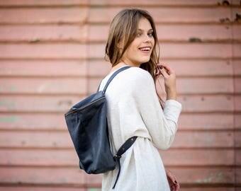 Sale, Black Leather Backpack, Travel Bag, Black Satchel,School Bag, Handmade Leather Bag