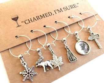 New Hampshire Themed Wine Glass Charms Set of six Cup Tags NH Moose Old Man Camping Maple Whimsical Party Favor Housewarming Gift Vino Charm