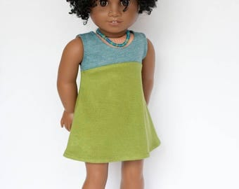 American Girl doll sized tri-city knit dress - blue and green