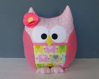 Owl Pillow - Shades of Pink & Yellow With Elephant Pattern