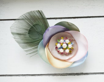 Handcrafted Pastel Easter Hair Clip - Rainbow Peacock Bows - Peacock Feather Fascinator - Spring Hair Clip - Pink Sage Green Blue Lavender