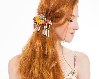 FESTIVAL CAPSULE COLLECTION // Debonair Flower Barrette with fringe lace. Festival hair accessories, boho headpiece