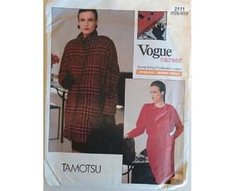 "UNCUT Vogue #2111 Career Wardrobe Tamotsu Wool Coat Jacket, Pleated Blouse and Skirt Sewing Pattern 3 Sizes UK 12 14 16  Bust 34"" 36"" 38"""