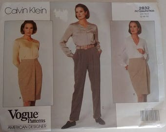 "Vintage Vogue 2832 Calvin Klein Wrap Skirt and Trouser Pants Sewing Pattern Waist 26.5"" UK 12"