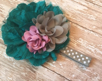 Teal, grey and rose baby headband, purple rustic rose headband, teal purple, grey polka dot elastic, big headband, baby girl headband