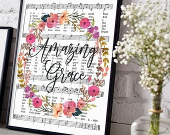 Printable Amazing Grace Hymn Art, Sheet Music, Instant Download, Hymnal Print, Inspirational Quote, Floral Scripture Decor, Christian Art
