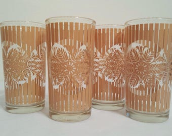 Striped Glasses Juice Glass Four Peach or Tan Floral Tumblers