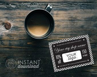 Elegant DIY Printable Coupon, Personal Coupon, Coupon Template, Coupon Code, Editable Coupon, Etsy Shop Discount, Ad Template Photoshop