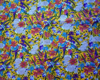 Rabbit vintage fabric, retro, animals, patchwork, yellow, easter, quilting, spring, cotton