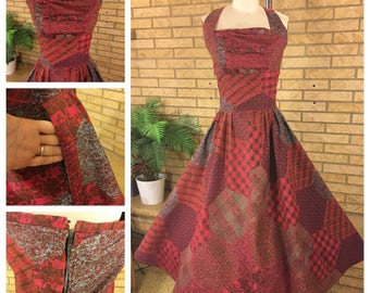 1950's Patchwork Print Cotton Halter Dress Size M / L