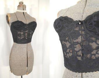 Vintage Bustier Bra - 34A Black Lace Strapless Corset Long Line Bra, 1980s Pin Up Top Burlesque Small Brassiere Victoria Secret