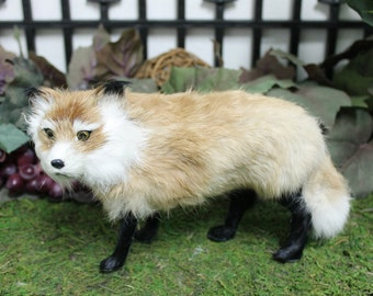 Standing Fox Replica Adorable Furry Animal Taxidermy Figurine Decor Cabin