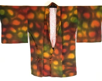 Vintage Japanese Hand-Dyed Silk Women's Haori Kimono Jacket