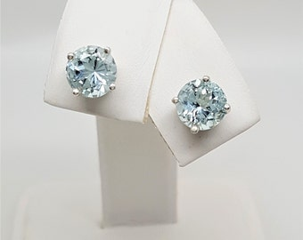 Aquamarine Round 1.85ctw Sterling Silver Stud Earrings