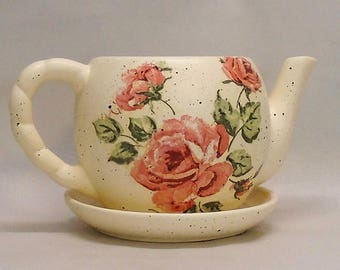 Made To Order, Handmade Decoupage Ceramic Teapot Flower Pot, Vintage Pink Roses, Shabby Chic, Succulent Pot, 4""