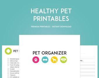 Healthy Pet Printables - Pet Planner - Instant Download - Pet Organization