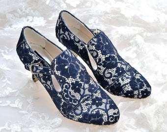 Custom handmade navy blue Vintage french Lace Bridal wedding satin Buckle strap ankle winter boot