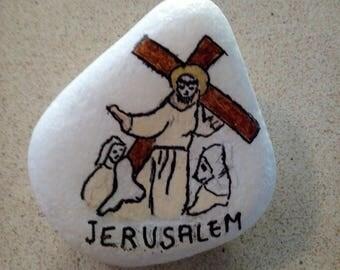 Painted Rock Stone Art Paper Weight, Door Stopper, Handpainted , Jerusalem Cristanity