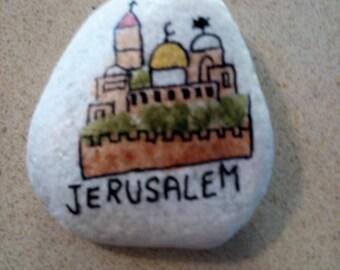 Handpainted rock Stone Art Paper Weight, Door Stopper,  Jerusalem